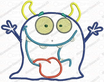 Silly Goofy Monster 4 Layer Applique Embroidery Design in 4x4 and 5x7 Sizes