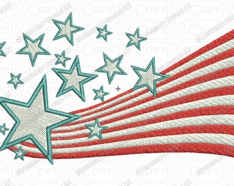 American Flag 3D USA Embroidery Design in 3x3 4x4 and 5x7 Sizes