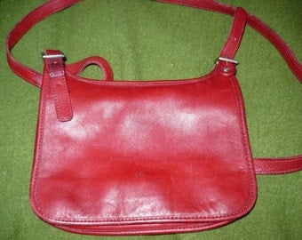 Coach, red, small purse, leather