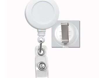 25 Blank White Retractable Badge ID Reels, Retractable Cord, ID Holder - Great For Covered Button, Bottle Cap and many other Embelishments