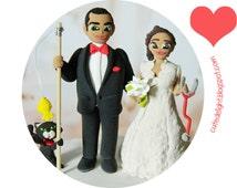 Doctor cake topper, Wedding Cake Topper, Doctor Bride, Fisherman Groom, Cat cake topper, fishing cake topper, custom cake topper, funny cake
