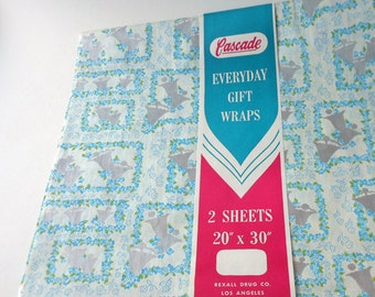 Cascade Everyday Gift Wraps Floral Squares with Silver Bells Gift Wrap Two Sheets