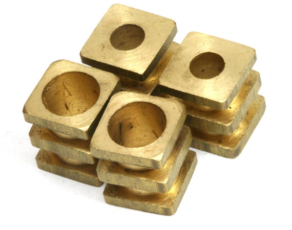 10 pcs   Raw Brass Cube 10 x 12 mm (hole 4.6 mm 7.6 mm) industrial brass decorative cord end beads, hanging metal beads ENC8