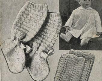 Bestway 1465 baby socks vintage knitting pattern PDF
