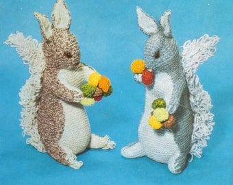 Squirrels vintage toy knitting pattern PDF instant download