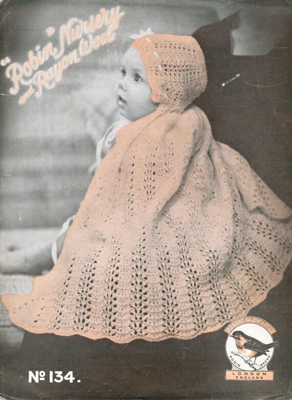 baby cape vintage knitting pattern PDF christening shawl