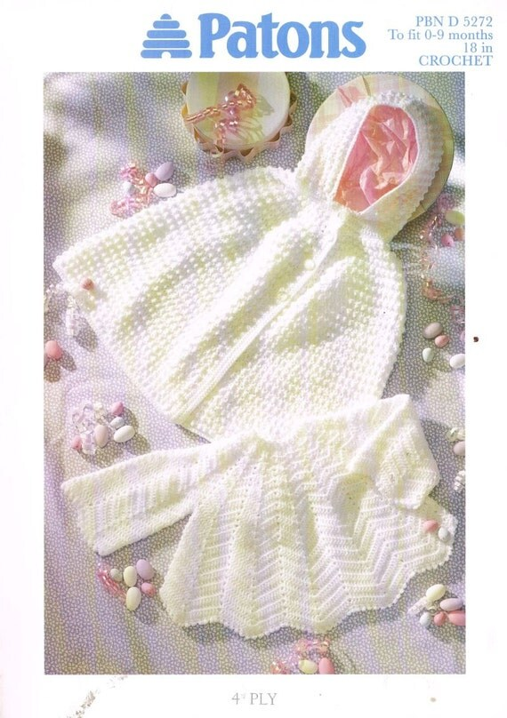 Knitting Pullover Patterns : Patons 5272 baby matinee dress and matching cape vintage