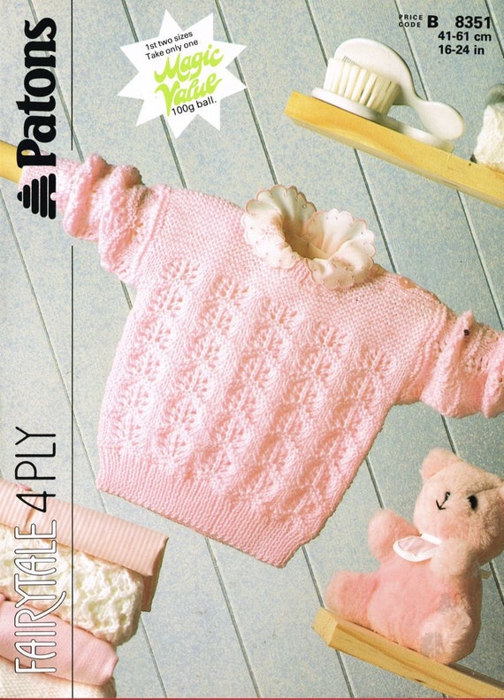 Knitting Pattern For Newborn Jumper : baby jumper vintage knitting pattern PDF instant download