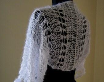 white shrug, bolero, soft, cozy ,fuzzy,loose flowing,light shiny,night ,bridal