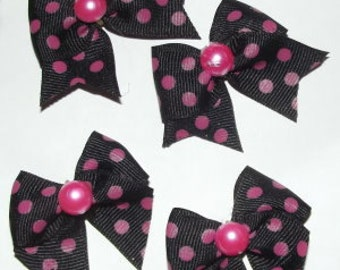 Set of 4 black w/hot pink dots bows for dogs