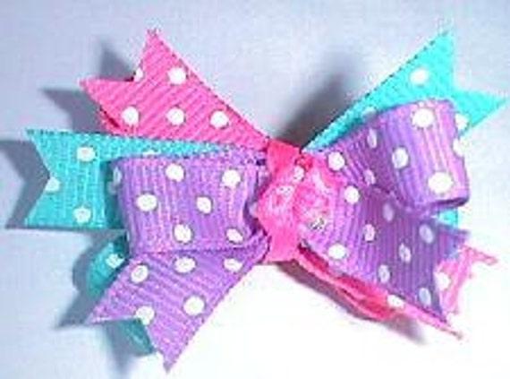 Puppy bows ~ dottie fun bow pet hair accessories purple