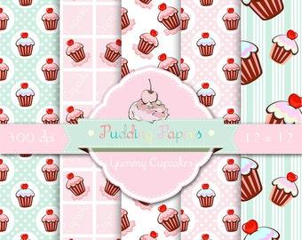 Yummy Cupcakes - Instant Download - Digital Collage Sheet - Cupcakes - Printable Paper - Cupcake Digital - Pastel Paper