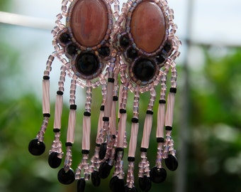 Bead embroidery, pink, black