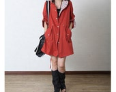 Dark Red Long Autumn Coat For Women/Cotton Linen Loose Fitting Fall Clothes/Long Women Hoodies with Floral Lining - MordenMiss