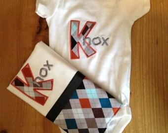 Argyle Monogrammed Baby Bodysuit and Burp Cloth Set