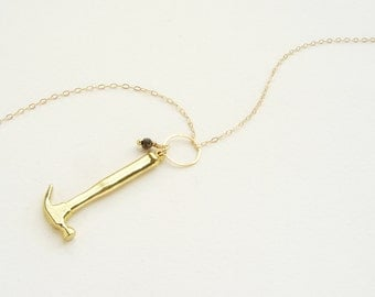 Golden Hammer Necklace, miniature hammer charm, pyrite stone 14kt gold filled chain, miniature tool charm