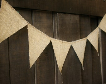 BURLAP and TWINE Banner, Triangle Flags, Bunting, Garland, Pennant, Photo Prop, Wedding Decor, Baby Decor, Home Decor
