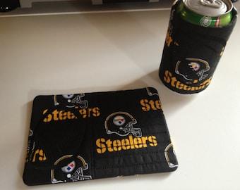 Steelers Inspired Embroidered Mug Rug Set