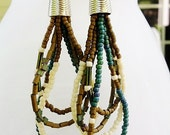 Beaded Hoop Earrings with Teal, Brown and Cream Beads, Sterling Silver, Bohemian Earrings, Tribal Earrings, One of a Kind