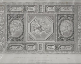French Architectural Print, Bibliotheque Imperiale,  Louis XIV, Paris 1863