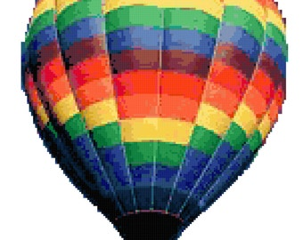 Hot Air Balloon counted cross stitch pattern. Digital download.