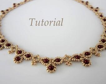 PDF tutorial Necklace Leuviah seed beads SWAROVSKY pearls