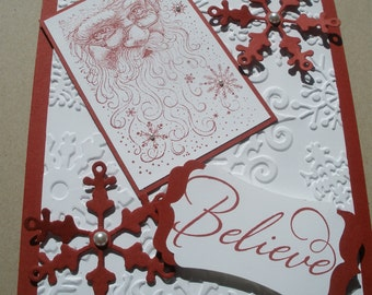 Handmade Believe in Santa Christmas card