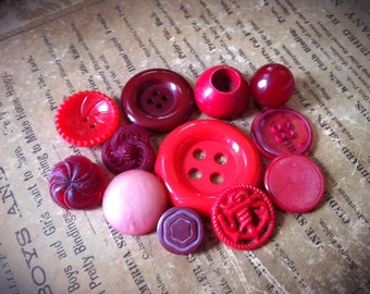 Red Button Soup. Vintage Plastic Button Collection Mixed Lot of 12