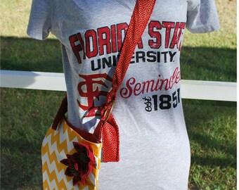 FSU Florida State University Seminoles Noles Gold Chevron Garnet Messenger Cross Body Bag Purse