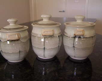 Tea coffee and sugar set, Stoneware ,wheel thrown. Black and White ...
