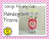 Monogrammed Acrylic Cup Lg by Sweet Bee Cups - Personalized Acrylic Tumbler Cup with Monogram Frame, Polka Dots, Curlz Font BPA FREE