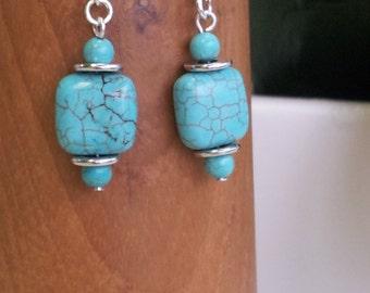 Blue Magnesite Drop Earrings