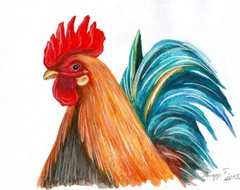 Rooster. Original Painting, Watercolor, Handpainted, 7,6 x11,6 inch. NOT a print! Original!  Tatiana-Art
