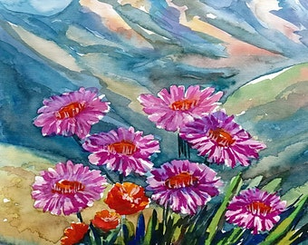 Flowers, mountains, landscape, original watercolor painting, handpainted, 7,8 x 11,8 inch. NOT a print. nature, blue, green,purple