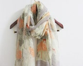 Deers of Autumn Forest Scarf Color of Autumn Trees Scarf Deer Scarf Fall Color Scarf Orange Gray Scarf Christmas Gift Ultra soft scarf cute