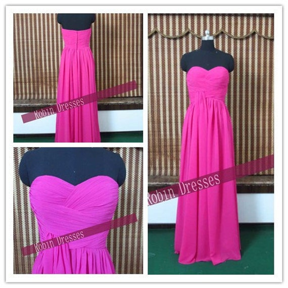 New Custom-made Strapless Sweetheart Long Loor Length Hot Pink Bridesmaid Dresses Prom Dresses