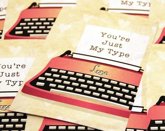 5 Just My Type Postcards - Valentine's Day Cards with Vintage Typewriter Design