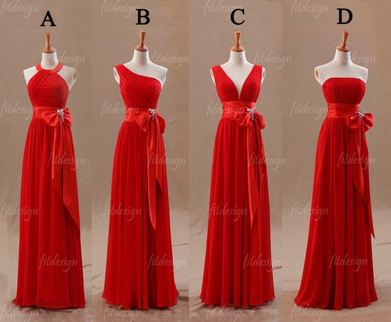 red bridesmaid dress, long bridesmaid dress, chiffon bridesmaid dress, custom bridesmaid dress, cheap bridesmaid dress, 140094