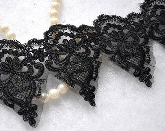 "Lace Trim Black Embroidery Gauze Lace Fabric Wedding Fabric DIY Handmade 5.12"" width 1 yards"