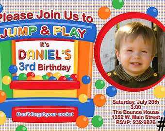 Bounce House Invitation with Photo You Print  Digital File