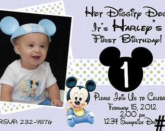 Mickey Mouse 1st Birthday Invitation with Photo You Print  Digital First printable