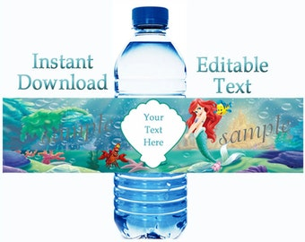 INSTANT DOWNLOAD Ariel Little Mermaid Water Bottle Labels - Editable - You Edit and PRINT  matches Ariel invitation 003