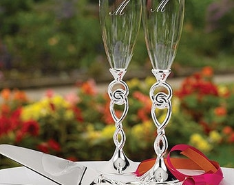 Personalized Wedding Flutes Champagne Love Knot Toasting Glasses Ceremony Engraved