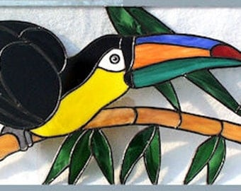 Stained glass transom window - Toucan