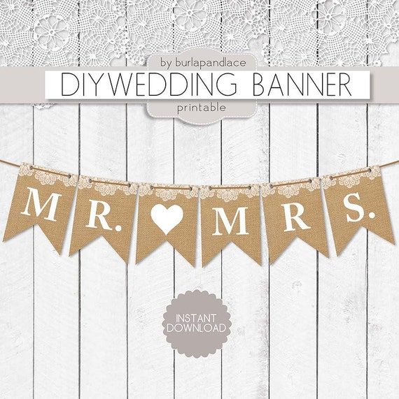 Diy Wedding Word Banners: Items Similar To Mr. And Mrs Burlap Lace Digital Banner