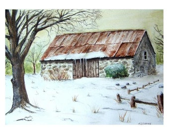 Old Stone Barn in Winter Watercolour Print. From an Original Painting by Artist.T J Cleary.