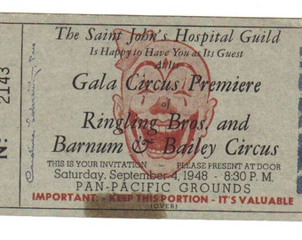Vintage 1948 Ringling Bros. Barnum Bailey Used Circus Ticket