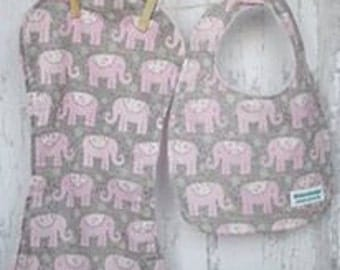 Pink Elephants/Baby Bib and Burpie Set/ Shower Gift/ Baby Girl Look/ Springtime/Easter/Chic/Trendy mom/Day out/Summertime Fun*FREE SHIPPING*