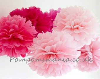 Set of 18 (6+6+6) units tissue paper pom poms - mixed sizes - handmade - lots of colours to choose from