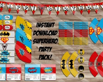 Superhero Birthday Party Pack, Pop Art Birthday Banner, Cupcake Wrapper, Water Bottle, Thank You Tags - Digital JPG Files, INSTANT DOWNLOAD